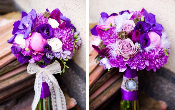 Buchet violet de mireasa