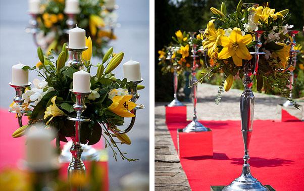 Detalii sfesnice lumanari si flori nunta Irina si Catalin
